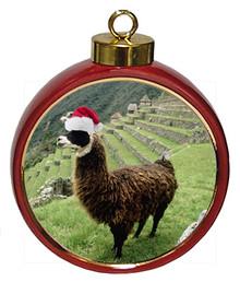 Llama Ceramic Red Drum Christmas Ornament
