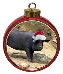 Pig Ceramic Red Drum Christmas Ornament