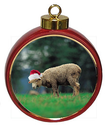 Sheep Ceramic Red Drum Christmas Ornament