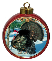 Turkey Ceramic Red Drum Christmas Ornament