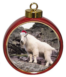 Mountain Goat Ceramic Red Drum Christmas Ornament