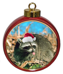 Raccoon Ceramic Red Drum Christmas Ornament