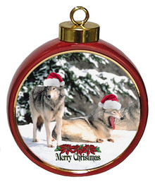 Wolf Ceramic Red Drum Christmas Ornament