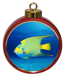 Angelfish Ceramic Red Drum Christmas Ornament