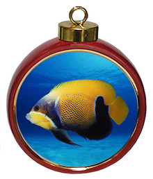 Blue Girdled Angelfish Ceramic Red Drum Christmas Ornament