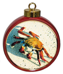 Crab Ceramic Red Drum Christmas Ornament
