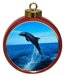 Dolphin Ceramic Red Drum Christmas Ornament