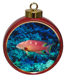 Grouper Ceramic Red Drum Christmas Ornament