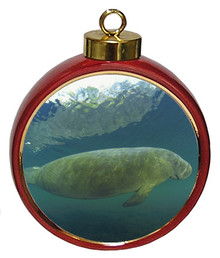 Manatee Ceramic Red Drum Christmas Ornament