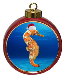 Seahorse Ceramic Red Drum Christmas Ornament