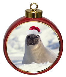 Seal Ceramic Red Drum Christmas Ornament