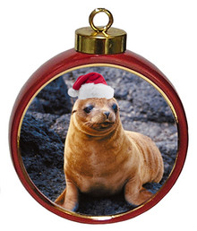 Sea Lion Ceramic Red Drum Christmas Ornament
