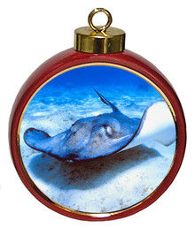 Stingray Ceramic Red Drum Christmas Ornament