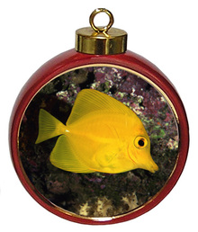 Yellow Tang Ceramic Red Drum Christmas Ornament