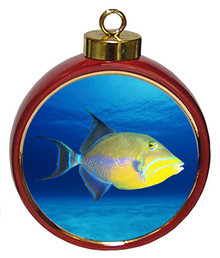 Triggerfish Ceramic Red Drum Christmas Ornament