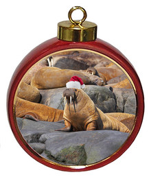 Walrus Ceramic Red Drum Christmas Ornament