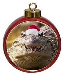 Alligator Ceramic Red Drum Christmas Ornament