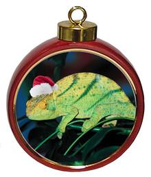 Chameleon Ceramic Red Drum Christmas Ornament