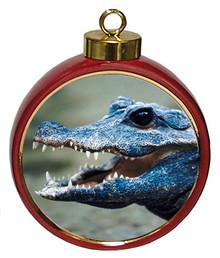 Crocodile Ceramic Red Drum Christmas Ornament