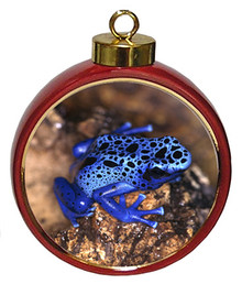 Blue Frog Ceramic Red Drum Christmas Ornament