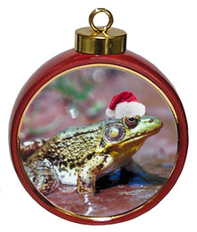 Green Frog Ceramic Red Drum Christmas Ornament