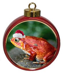 Tomato Frog Ceramic Red Drum Christmas Ornament