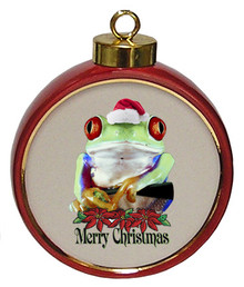 Tree Frog Ceramic Red Drum Christmas Ornament