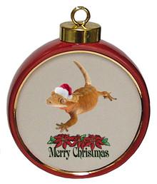 Gecko Ceramic Red Drum Christmas Ornament