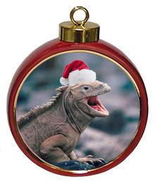 Iguana Ceramic Red Drum Christmas Ornament