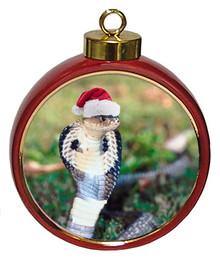 Cobra Snake Ceramic Red Drum Christmas Ornament