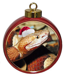 Copperhead Snake Ceramic Red Drum Christmas Ornament