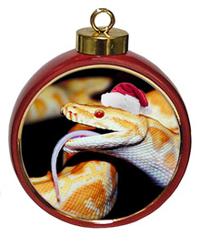 Python Snake Ceramic Red Drum Christmas Ornament