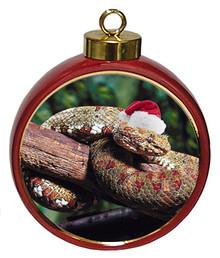 Viper Snake Ceramic Red Drum Christmas Ornament