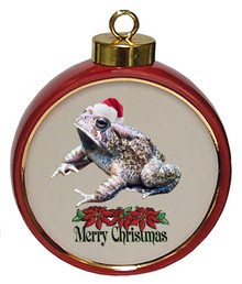 Toad Ceramic Red Drum Christmas Ornament