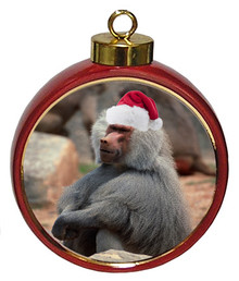 Baboon Ceramic Red Drum Christmas Ornament