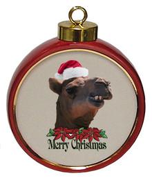Camel Ceramic Red Drum Christmas Ornament