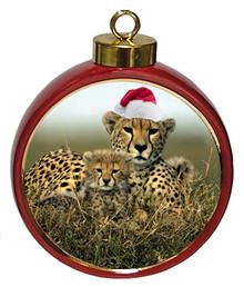 Cheetah Ceramic Red Drum Christmas Ornament