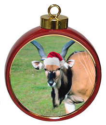 Eland Ceramic Red Drum Christmas Ornament