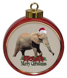 Elephant Ceramic Red Drum Christmas Ornament