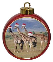 Giraffe Ceramic Red Drum Christmas Ornament