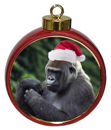Gorilla Ceramic Red Drum Christmas Ornament
