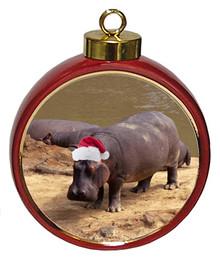 Hippo Ceramic Red Drum Christmas Ornament