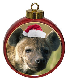 Hyena Ceramic Red Drum Christmas Ornament