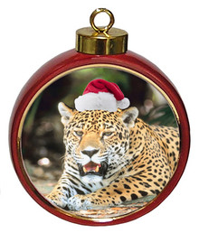 Jaguar Ceramic Red Drum Christmas Ornament