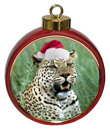 Leopard Ceramic Red Drum Christmas Ornament