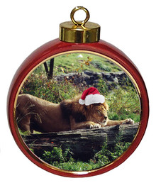 Lion Ceramic Red Drum Christmas Ornament