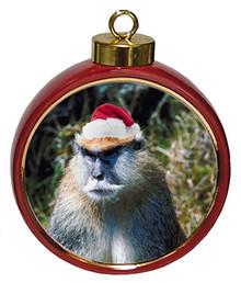 Monkey Ceramic Red Drum Christmas Ornament