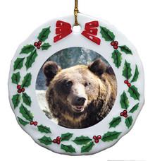 Bear Porcelain Holly Wreath Christmas Ornament