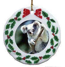 Koala Bear Porcelain Holly Wreath Christmas Ornament