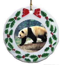 Panda Bear Porcelain Holly Wreath Christmas Ornament